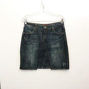 Mudd Distressed Denim Patchwork Skirt